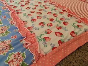 Matilda Jane pink quilt blanket w/multicolor panels & ruffles, approx. 4' x 5'