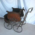 Antique Victorian Oak Baby Buggy Carriage Stroller