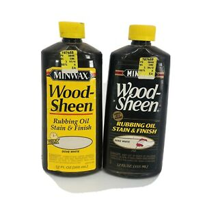 Lot of 2 - Minwax Wood Sheen Rubbing Oil Stain and Finish DOVE WHITE 12 fl oz