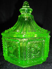 Green Vaseline glass Springerle pattern Candy dish butter pat uranium cookie jar