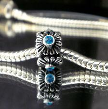 Bead Element Column Cyan Kristall Farbe Antiksilber Silber für Armband 0378