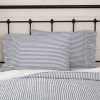 SAWYER MILL BLUE TICKING STRIPE Pillow Case Set Farmhouse Bedding VHC Brands