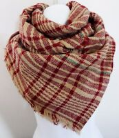 Blanket Scarf Red Beige Large Fall Wrap Woven Fabric 38 by 80 inches