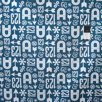 Cloud 9 Typography Wood Type Teal Certified Organic Cotton Fabric By Yard