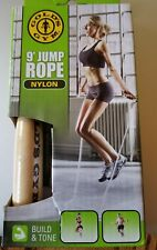 GOLDS GYM 9' Wooden Handle Jump Rope NYLON New In Package! Get Fit In 2018!