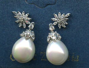 14MM WHITE SIMULATED PEARL & CZ CLUSTER DROP EARRINGS