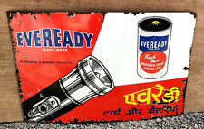 Vintage Enamel Sign Board Eveready Torch & Battery National Carbon Product 1950s