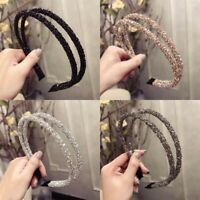 Women Two-Layer Hairband Crystal Wedding Party Headband Hair Hoop Accessories