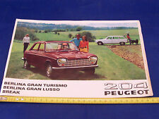 DEPLIANT ORIGINALE PEUGEOT 204 BERLINA E BREAK PROSPEKT BROCHURE PROMO