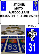 1 sticker plaque immatriculation MOTO TUNING 3D RESINE  FPF PORTUGAL DEPA 31