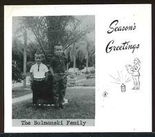 Vintage 1950's Snow scene Kids & Cars Photo Merry Christmas Photograph Card