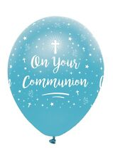 6 x On Your Communion Blue Latex Balloons Boys Religious Party Decoration Helium
