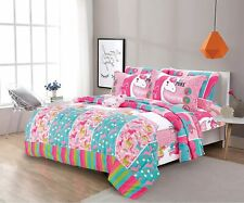 Pink Unicorns Clouds Rainbow Patchwork 8pc Comforter Sheet Set Twin Full Bed Bag