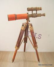 "10"" Nautical Antique Double Barrel Telescope with Wooden Tripod Gift."