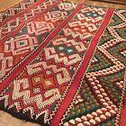 Morocco Berber Atlas Tribal Kilim Red Rug Remnant Embroidered Weaving Textile