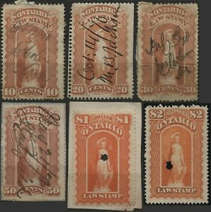 Canada VanDam #OL47-49,52,57,58 10c~$2.00 red Ontario Law Stamp used (1870)