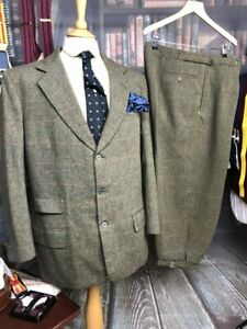 Vintage Bespoke Heavyweight Tweed Shooting Suit/Breeks/Plus Fours 44C/36W Don...