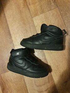 Nike Air Force Trainers Black Leather Shoes Toddler Size 5.5 UK  Fast Postage
