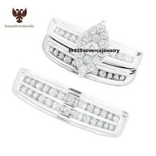 Marquise Shape His-Her Diamond Wedding Ring Bands 14k White Gold Trio Bridal Set