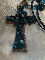 Baroque/ Gothic Cross Pendant And Earrings