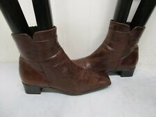 Sesto Meucci Brown Leather Square Toe Zip Ankle Boots Womens Size 8 M