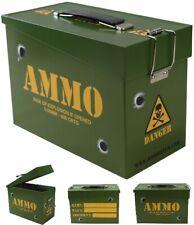 NEW KombatUK Kids Childs Army Style Metal Hinged Flip Lid Ammo Lunch Toy Box Tin