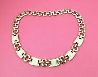 Vintage Statement Chain Necklace Off White Enamel Gold Tone