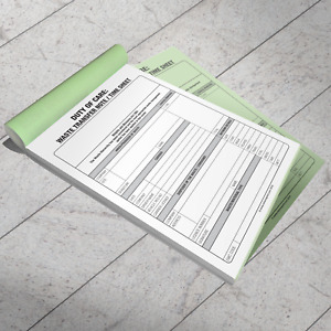 WASTE TRANSFER NOTE / DUTY OF CARE / TIME SHEET DUPLICATE PAD - STAY COMPLIANT