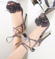 Britpop Womens Lace Up Strappy Fringe Stiletto High Heel Sandals Gladiator Zsell