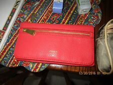 New Fossil Emory  Clutch Leather Wallet  POMEGRANATE