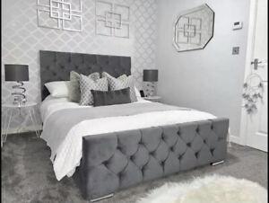 Plush Velvet Chesterfield Sleigh Bed Frame Available In All Sizes