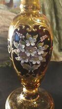 Vintage Venetian Murano Glass Amber Candlesticks Tre Fuochi 10 Inch PAIR