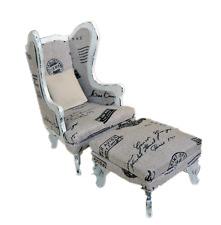 MiniMolly Dollhouse Furniture  BARBIE SIZE Arm Chair, ottoman  Lounge 1:6 scale