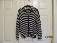 4b52c8daf0a07 Talbots Womens Black White Striped Long Sleeve Zip Front Jacket Size Petite  L