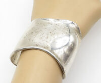 925 Sterling Silver - Vintage Shiny Wavy Designed Wide Cuff Bracelet - B5418