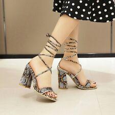 Gladiator Womens Block High Heel Sandals Ankle Tie Up Snakeskin Print Strappy B