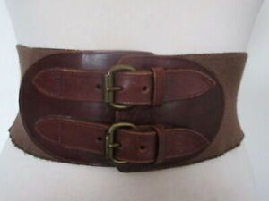 VINTAGE 80'S SALLY GISSING WIDE JUTE ELASTIC BELT ON DOUBLE BUCKLE LEATHER ENDS