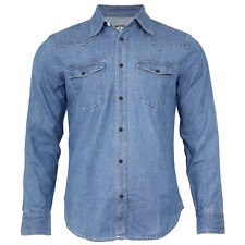 New Men's Traditional Denim Shirt with Flap pocket and Snap button from S-XXXL