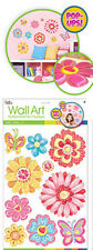FLOWERS 3D POP-UPS wall stickers 10 colorful decals kids' room decor butterflies