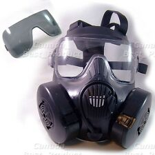 TACTICAL AIRSOFT PAINTBALL FULL FACE PROTECTION DUAL FAN GAS MASK M50 BLACK