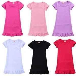 Girls Nightdress Solid color Summer Short Sleeve Dress Kids Sleepwear Dress UK