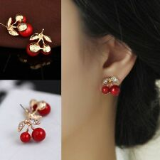 Gold Plated Crystal Red Cherry Earrings Rhinestone Stud Women Children Fashion