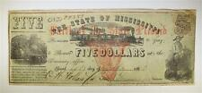 """MISSISSIPPI CIVIL WAR 1862 $5 COTTON PLEDGE """"FAITH of the STATE"""" NOTE... Lot 109"""