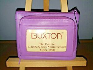 NWT Purple Leather BUXTON WALLET 3 Zips 2 ID Windows 9 Card Slots 3 Key Holders
