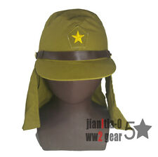 Repro WW2 Japanese Military Field Hat Brown Strap Cap Havelock Neck Flap