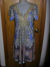 LIVE AND LET LIVE-S/S-PERIWINKLE/MULTI PRINT-KNEE/JUST ABOVE-DRESS-STRETCH-L-NWT