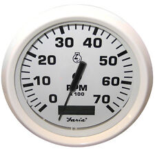 "FARIA DRESS WHITE 4"" TACHOMETER HOURMETER 7000 RPM"