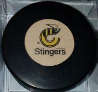 1975-77 CINCINNATI STINGERS VINTAGE WHA OLD VICEROY  GAME PUCK MADE IN CANADA