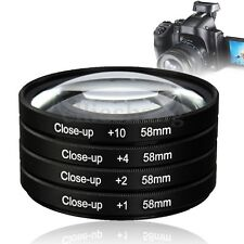 4Pcs/Set 58mm Close Up Macro Lens Filters Kit +1 +2 +4 +10 Optical Glass Camera