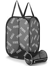 Victorias Secret PINK Laundry Basket Bag Hamper & Intimates Bag Mesh Black Logo